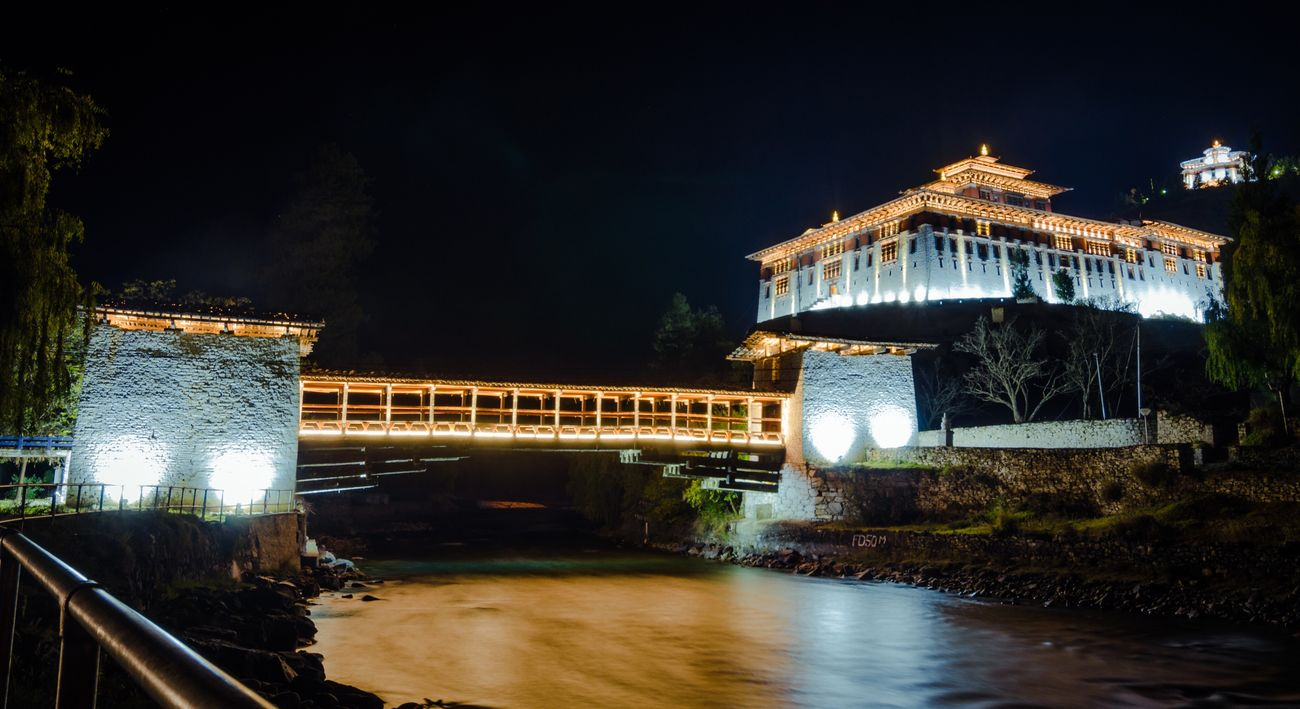 Architecture Built Structure Water Building Exterior Illuminated Night Connection Reflection River No People Outdoors Dzong Historical Building Castle Religious Architecture Wide Angle Asian Culture Spirituality Lightup
