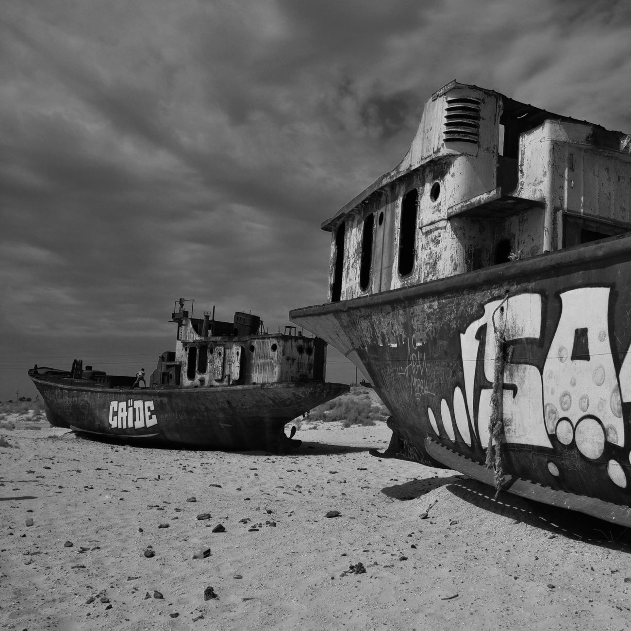 No Future | Moynaq - Aral sea Blackandwhite Desert Boats