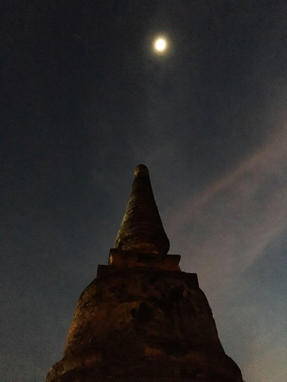Low Angle View Of Historic Temple Against Sky At Night