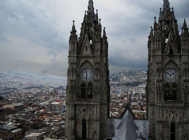 Basilic Basilica Cathedral Church City City View  Clouds Crowded Downtown Ecuador♥ Gothic Style Hight Quito Religion Sky Tourism Town Travel Destinations