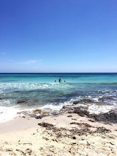 Sea Beach Horizon Over Water Water Beauty In Nature Sand Scenics Nature Sky Tranquility Blue Tranquil Scene Vacations Day Clear Sky Outdoors Wave Beauty In Nature formentera