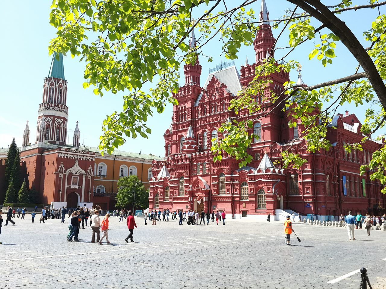 People Walking On Street By State History Museum At Red Square