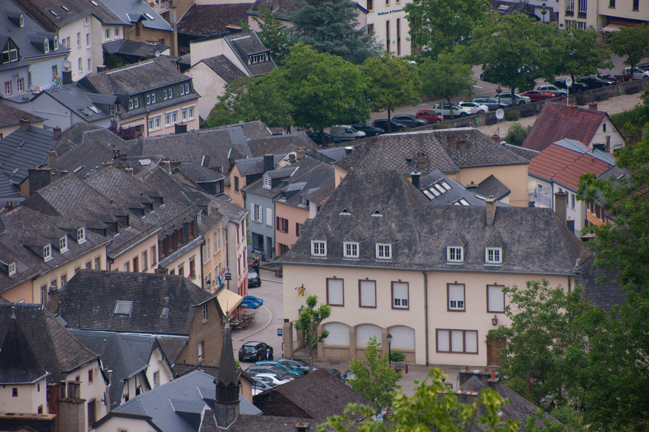 vianden,luxembourg Architecture Building Exterior Built Structure City Cityscape Day High Angle View House No People Outdoors Roof Town Tree