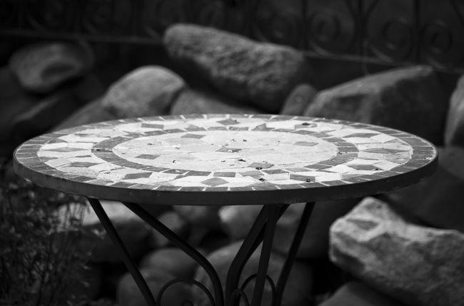 Abundance Black & White Black And White Black And White Photography Black&white Blackandwhite Blackandwhite Photography Close-up Focus On Foreground Furniture Mosaic No People Outdoors Stonework Table