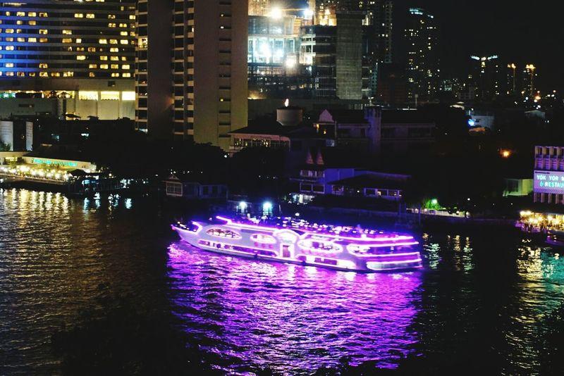 Night Illuminated River Cityscape Bangkok Bangkok Thailand. Chaophraya