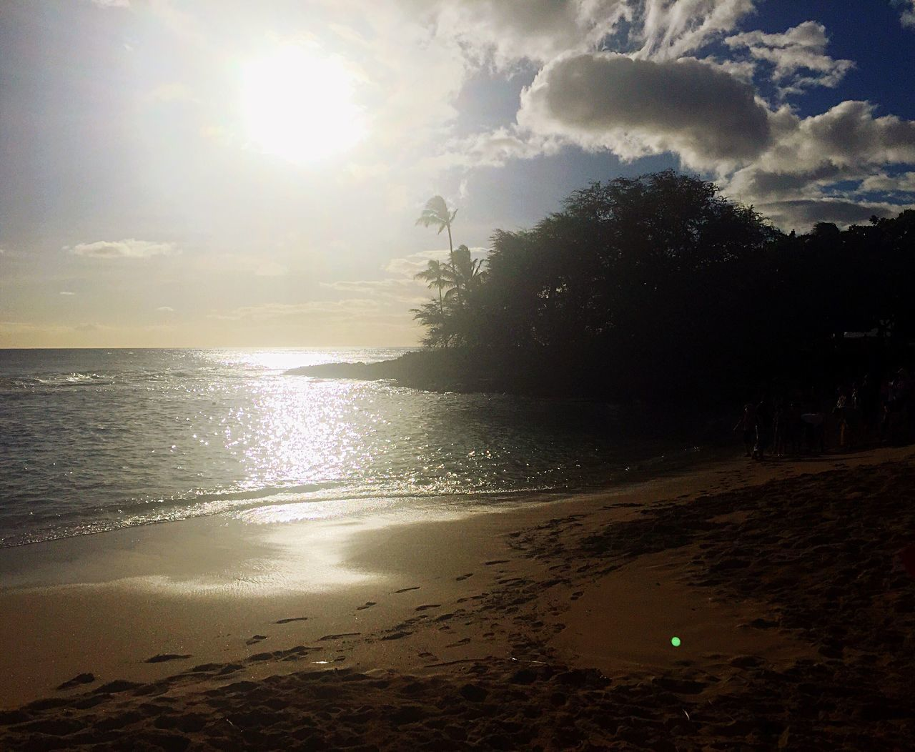 sun, beach, sunbeam, sunset, water, sky, sea, nature, tranquil scene, beauty in nature, tranquility, scenics, silhouette, sunlight, sand, no people, tree, horizon over water, outdoors, day