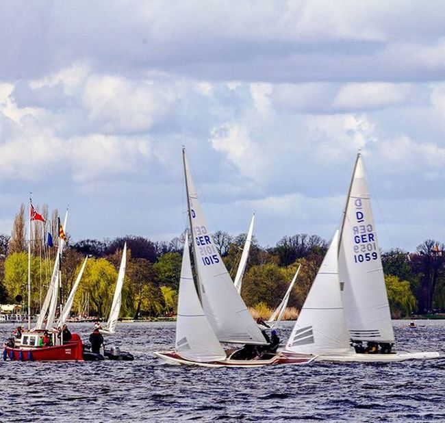 sailing ships on the alster Sailing Ship Alster Hamburg Igershamburg Igersgermany Instahamburg Boat Water Sky Clouds Fluffyclouds Fluffy Hamburgmeineperle River Downbytheriver Sailinglife Wind Sail Canvas Sea Alster Sailer Sailinglife Waters inshore watersports