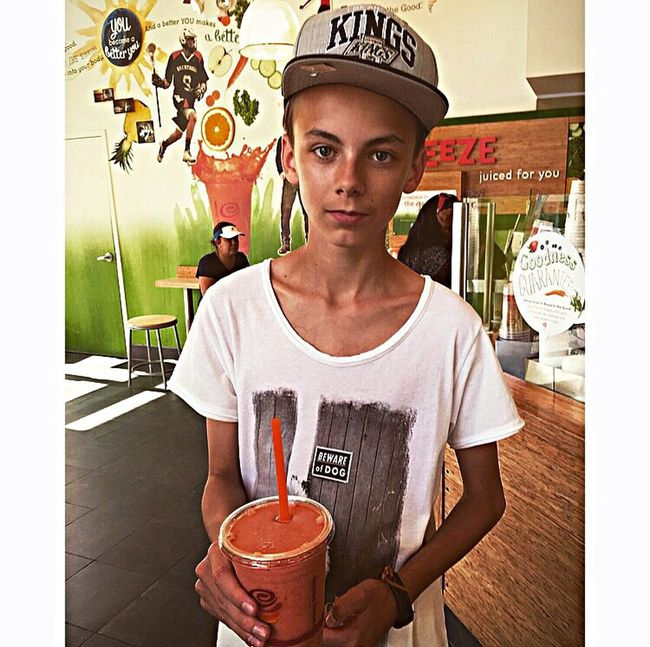 Boy Teenager Son Young Men Unicorn Heartbreaker Junge Tan Model Jambajuice Jamba Juice Losangeles Los Angeles, California California California Love California Dreaming Madeinusa Chlopiec SYN Young Wild And Free(; Portrait Indoors  Looking At Camera Waist Up Front View Casual Clothing T-shirt Young Adult Freshness In Front Of