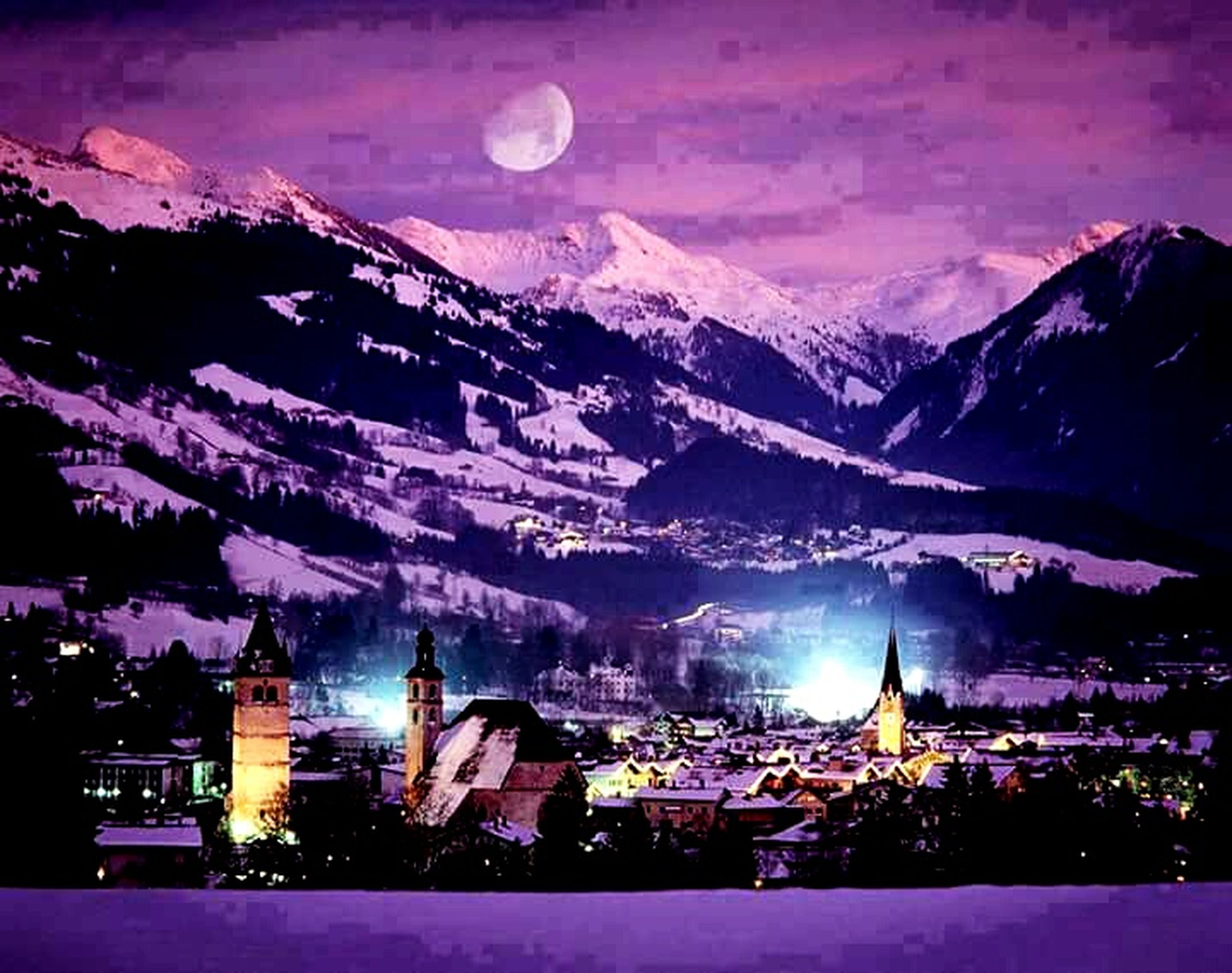 illuminated, mountain, night, building exterior, architecture, built structure, sky, mountain range, dusk, snow, winter, moon, house, landscape, residential building, residential structure, town, city, outdoors, lighting equipment