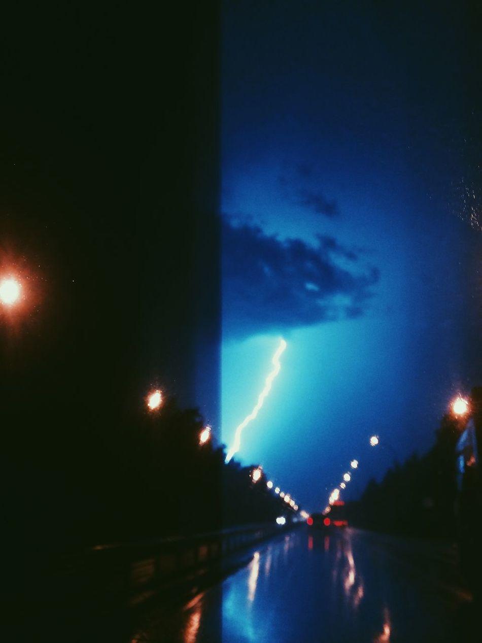 Storm Stormy Weather Rain Ontheroad Thunderstorm Raining NightRoad Nightview Roadscape Light