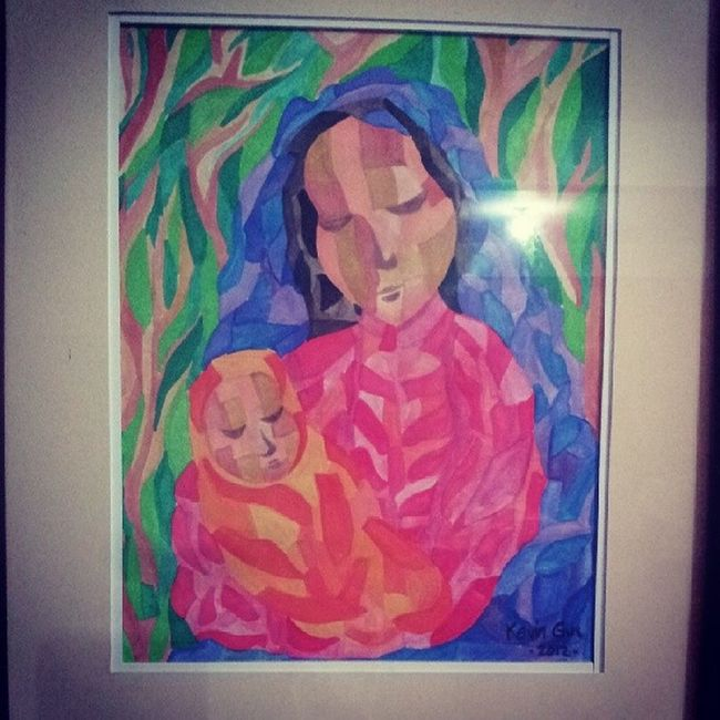 Motherandchild .... This was one of my paintings when i started to experiment with cubism technique. ... I always love to make paintings in which Madonna and Child Madonnaandchild is the theme.. artist artwork art asianartist