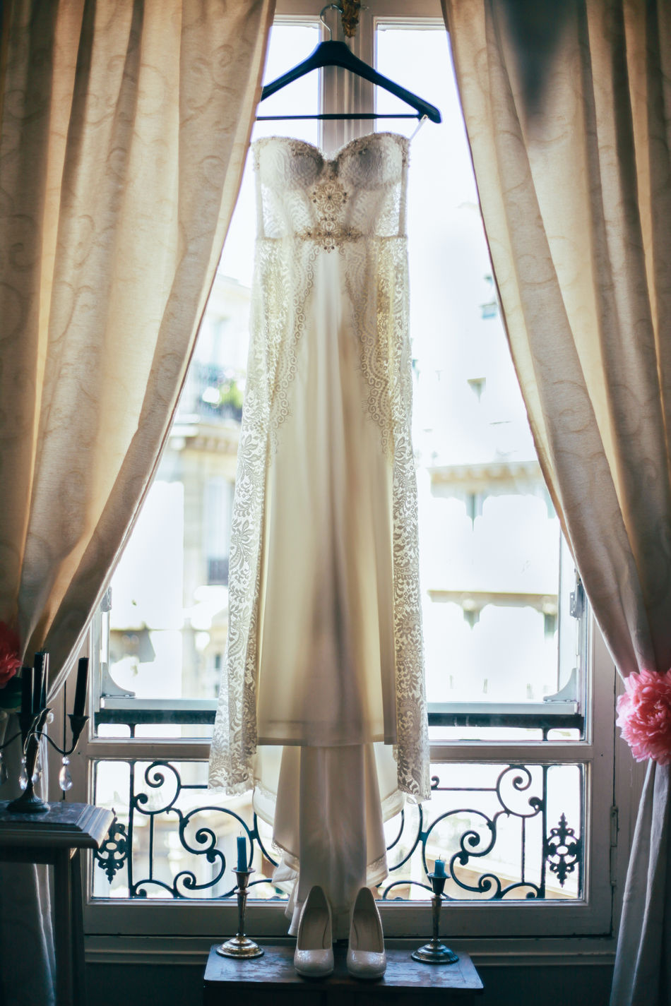 Curtain Cute Decorations Details Drapes  France French Indoors  Indoors  Luxury Morning No People Paris Preparations Tender Wedding Wedding Day Wedding Dress Wedding Photography Wedding Shoes Window