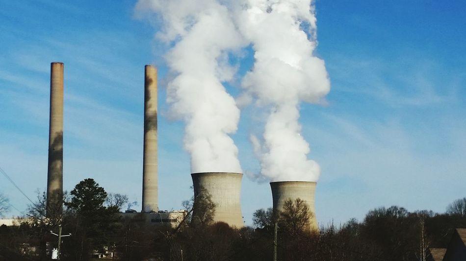 Smoke Smokestack Georgia Factory Polution Smog Clouds