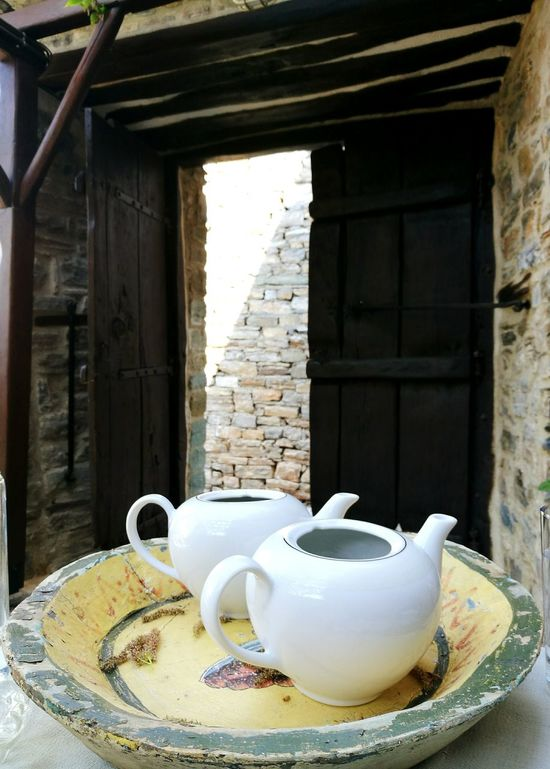 Tradition No People Architecture Breakfast Tea Tea Time Herbs Hot Drink Tea Pots Traditional Culture Wooden Door Village Village Life Village Lifestyle Rural Life Relax Tranquility Health Stressless Life Greece Greek Village Pilio Pelion,Greece