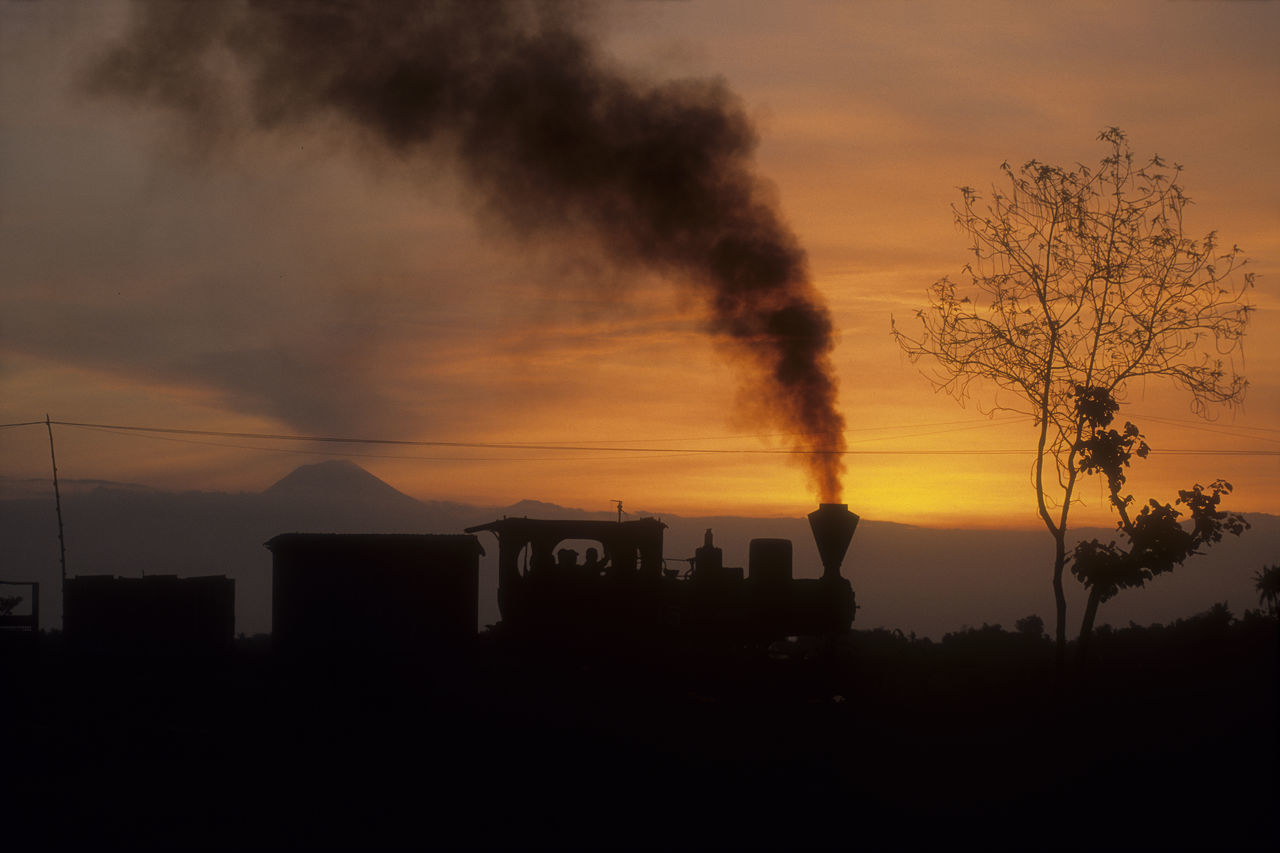 sugar cane Train is steamy in the sunset INDONESIA Java Narrow Gauge Orange Sky Smoke Sugar Cane Train Sunset Silhouettes Volcano Landscape Beauty In Nature City Day Dramatic Light No People Outdoors Scenics Silhouette Sky Smoke Stack Steam Locomotive Sunrise And Clouds Sunset Train Tree