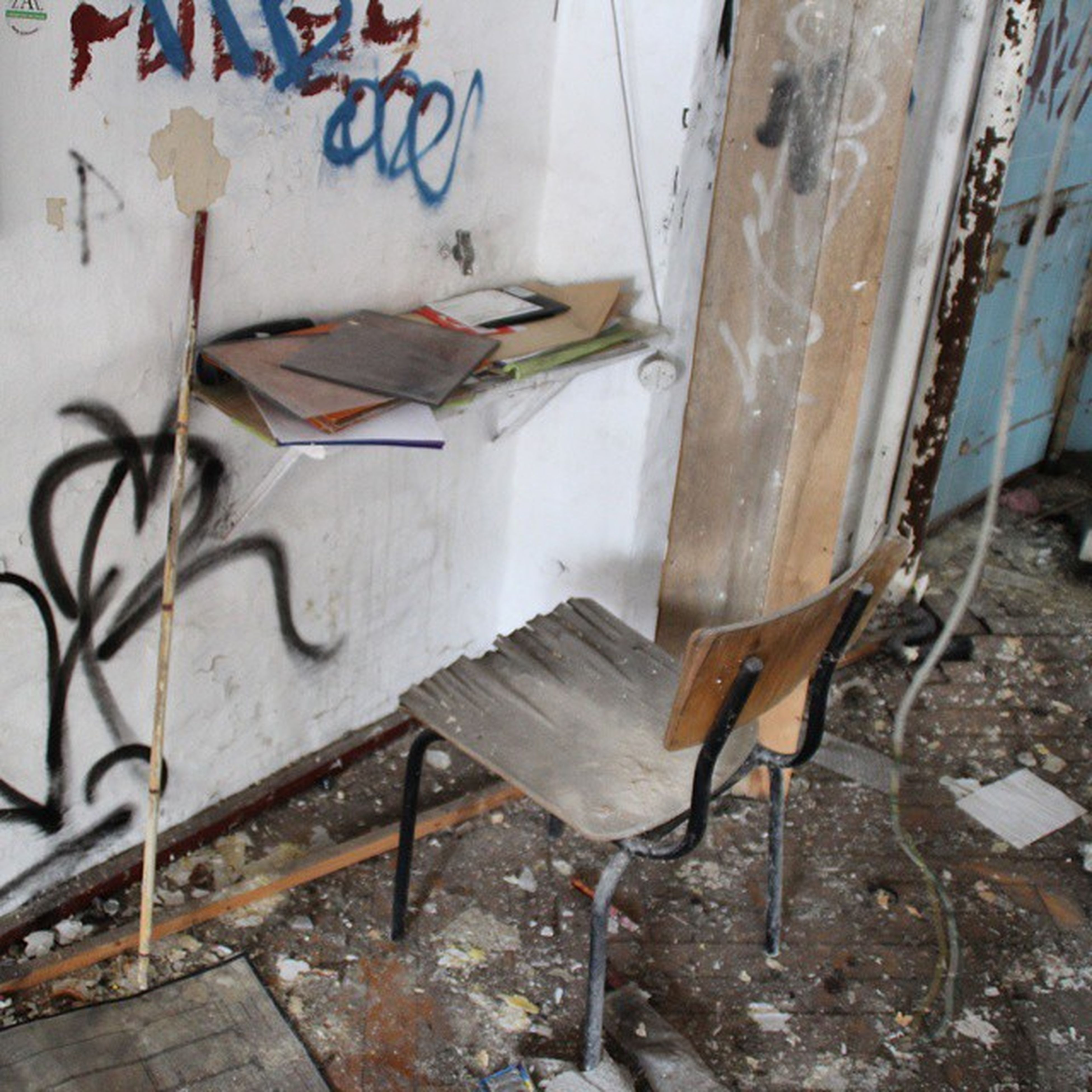 abandoned, messy, old, damaged, obsolete, wall - building feature, deterioration, run-down, indoors, wall, weathered, built structure, graffiti, no people, dirty, bad condition, wood - material, architecture, broken, hanging