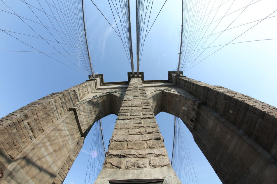 One of the pillars of the famous Brooklyn Bridge in New York city Architecture Big Apple Bridge - Man Made Structure Brooklyn Brooklyn Bridge / New York Built Structure City Clear Sky Connection Day Landmark Landmarkbuildings Low Angle View New York New York City No People NYC NYC Photography Outdoors Sightseeing Sky Travel Destinations Urban Urban Skyline USA