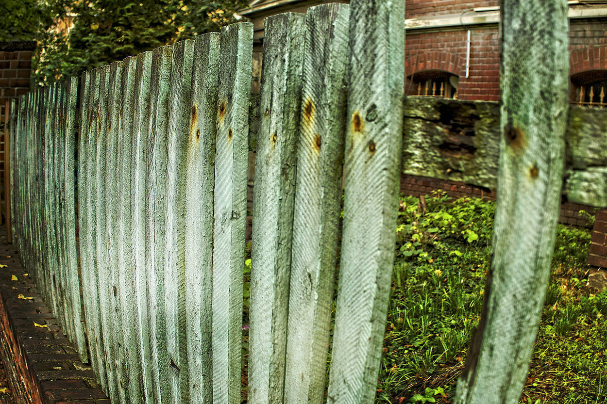 11.10.2016 Halle/Saale Agriculture Architecture Built Structure Day Fence Gatter Green Color Lattenzaun No People Outdoors Repetition Rural Scene Weathered Wooden Zaun