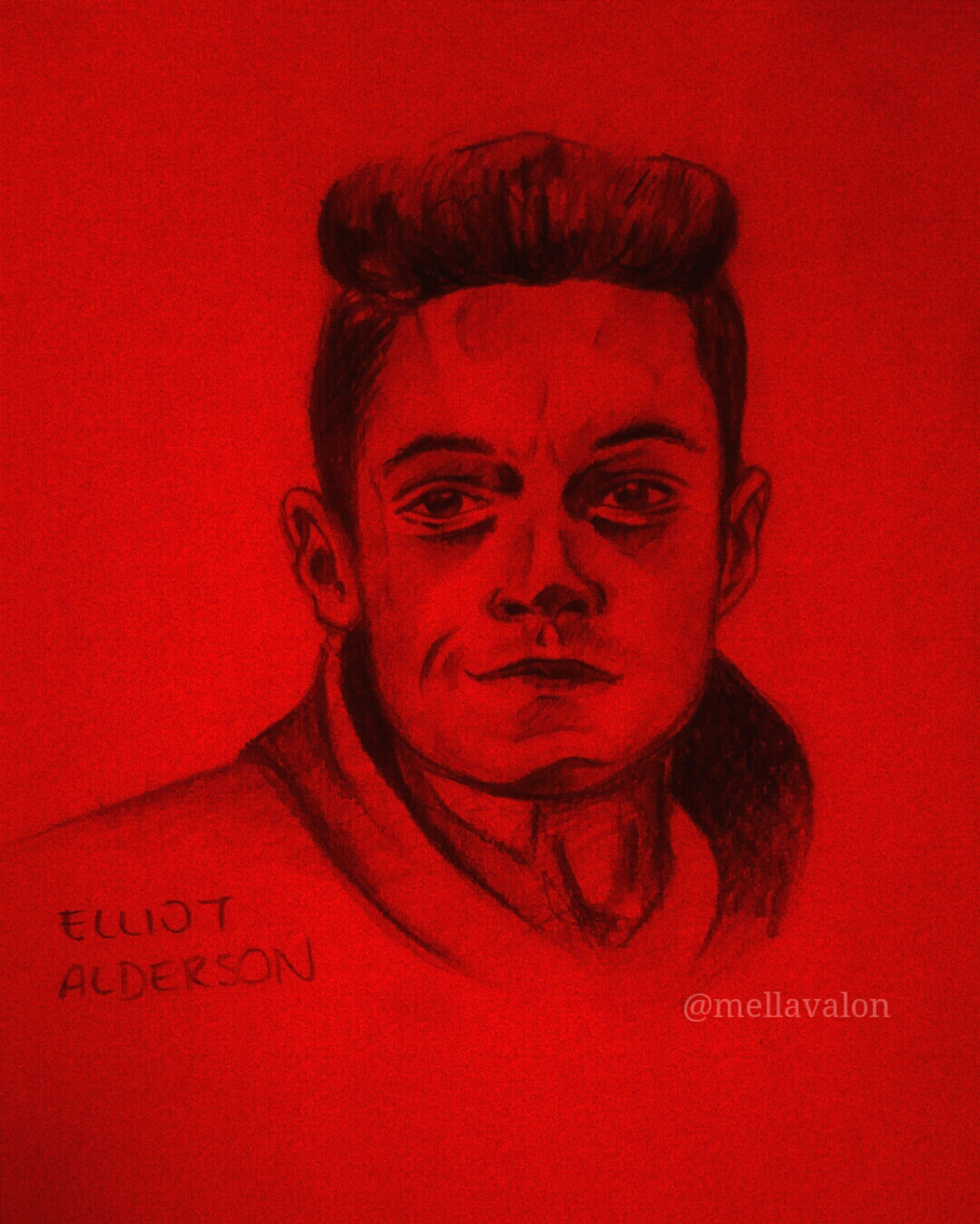 Mr.Robot // Elliot Alderson my fav tv character! ✨ Mrrobot Elliot Alderson Look At This Colors Check This Out Creative Light And Shadow ArtWork Drawing Art, Drawing, Creativity Art And Craft Art Draw Likeforlike Red My Drawing Creativity