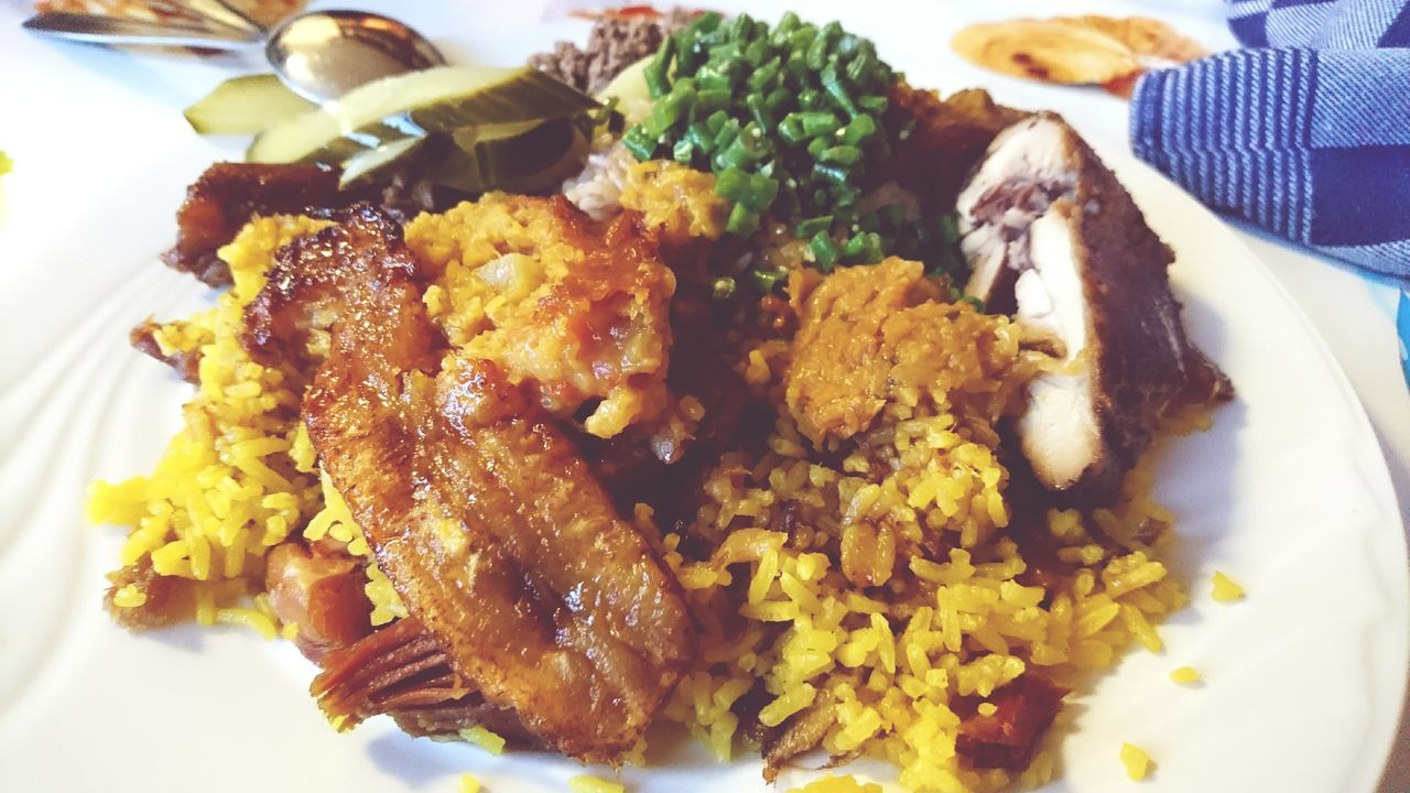 Lovely Surinam Food Bakbanaan Yello Rice Rice and Pom
