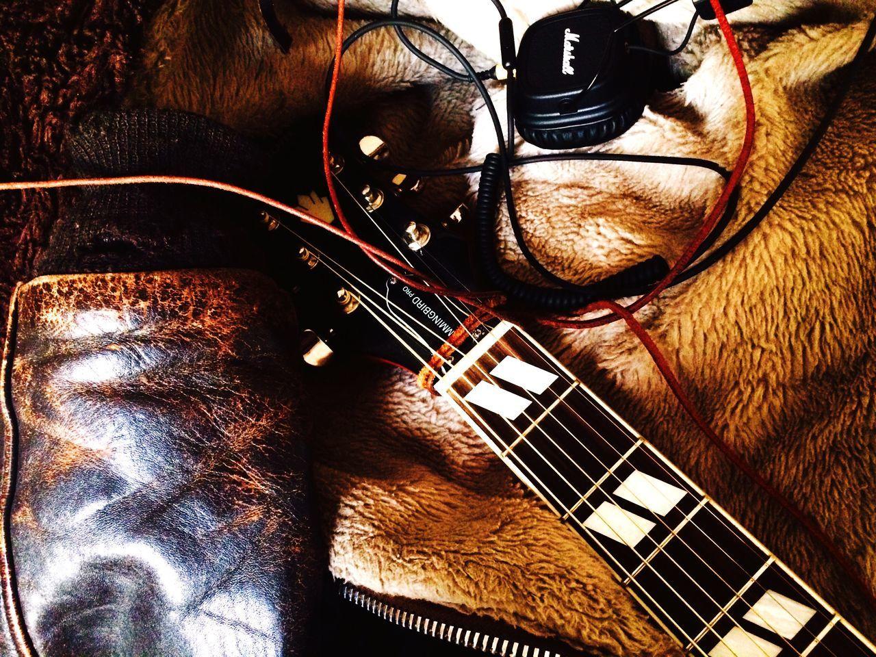 Guitar stills Indoors  Music Leather Jacket brown