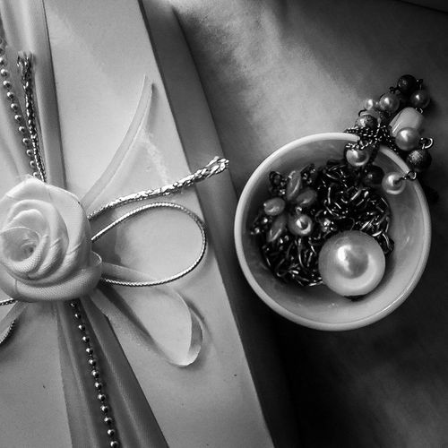 Jewelry Necklace Close-up Indoors  White Background Black And White Photography Black And White White White Color Smartphonephotography White And Black White Surface Ring White Box Classic Cup White Cup From Above  From Above It Looks Big