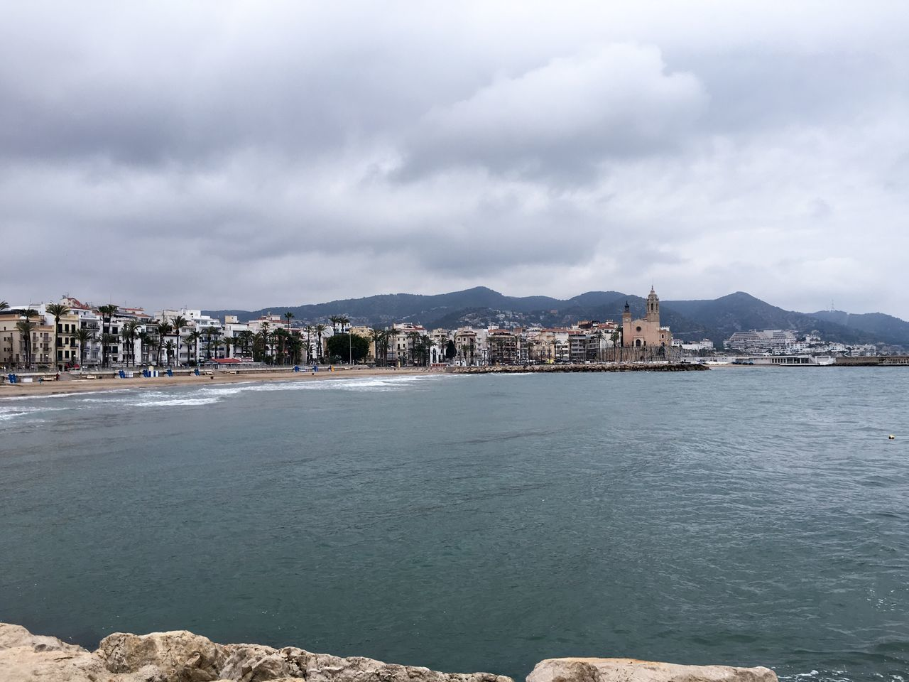 Beach Sitges Clouds Sea Sea And Sky Mediterranean  Cloudy
