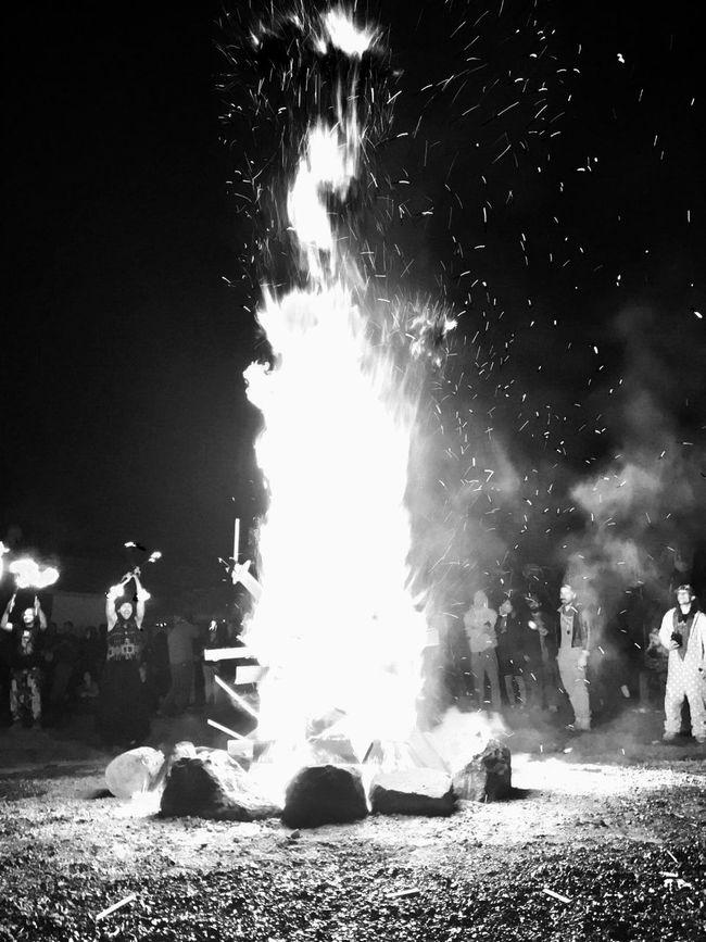 Night Outdoors Smoke Celebration Effigy Firework - Man Made Object Fire Glowing Illuminated Bonfire Flame Black And White