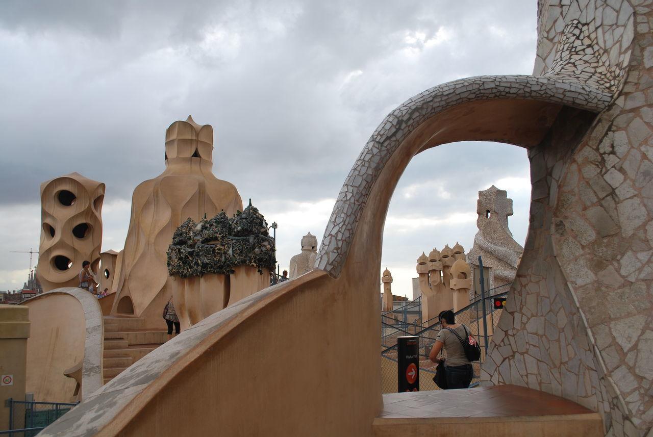 Architecture Barcelona Barcelona, Spain Casa Mila ( La Pedrera ) Casa Milà Gaudì Cloud - Sky Day Gaudi No People Outdoors Roof Rooftop Sculpture Sky SPAIN Statue Statue Travel Destinations