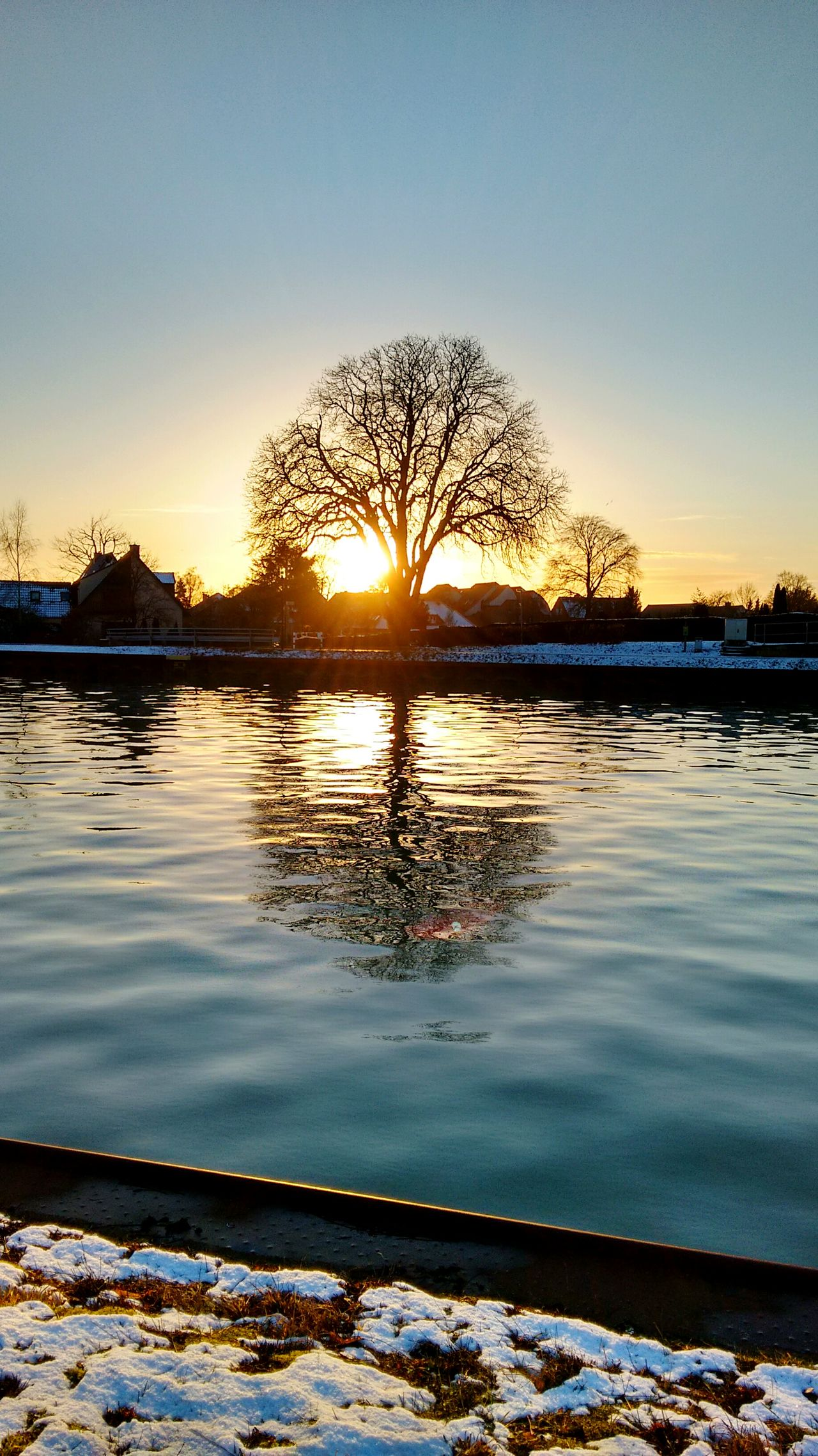 Reflection Sunset Water Travel Sky Nature Outdoors Tree No People Day EyeEm Nature Lovers Wintertime Winter Snow Cold Temperature Landscape