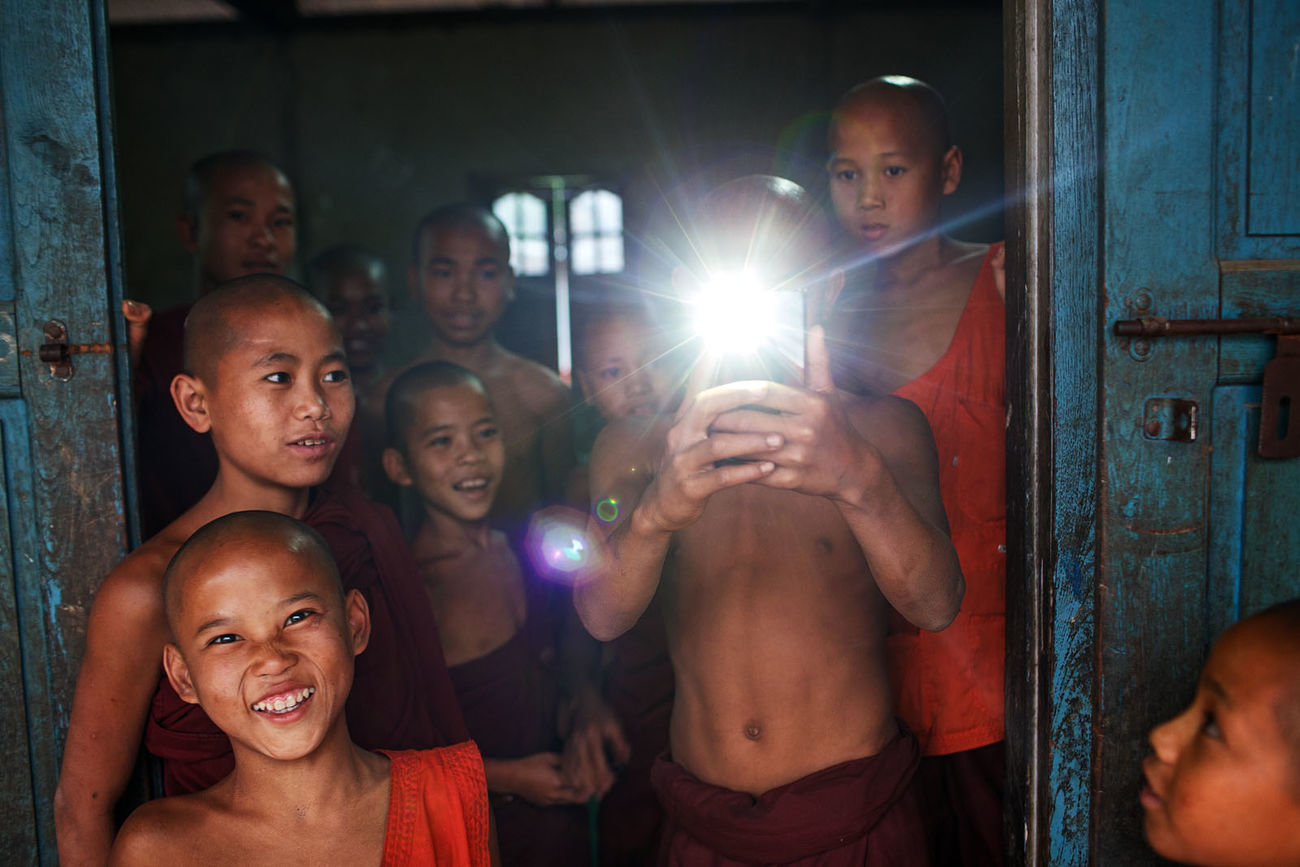 Young novice monks at a monastery in Lashio, Myanmar. ASIA Myanmar Burma Lashio Monastery Monks Buddhism Travel