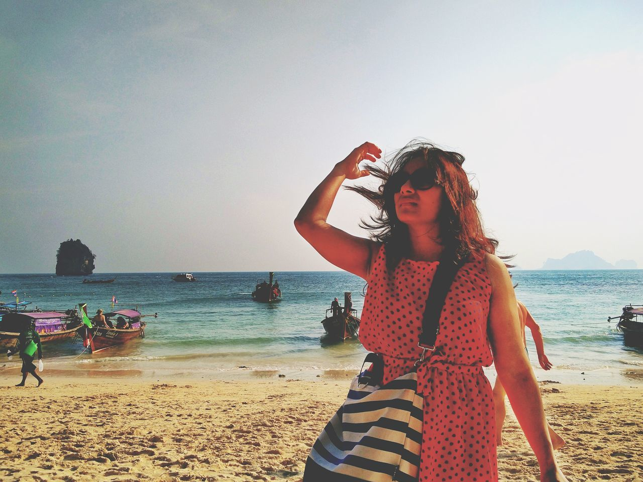 Beach Sea Sky Outdoors Horizon Over Water Clear Sky Sunset Water Vacations Only Women One Woman Only Nature Lost Girl Lost In Thought Red Dress Boats Railey Beach Thailand Resist The Great Outdoors - 2017 EyeEm Awards