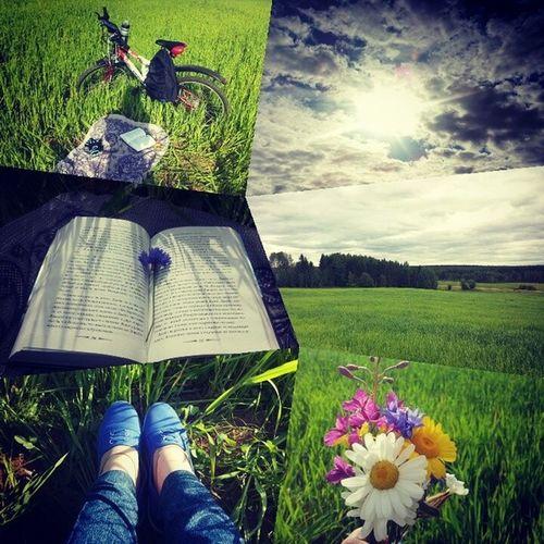 Сегодня с утра возникло такое резкое желание почитать на природе. За 10 минут я собралась и уехала в любимое место... Как же все-таки там красиво! Там очень тихо и спокойно. Тишина даже ушки режет как-то Природа романтика