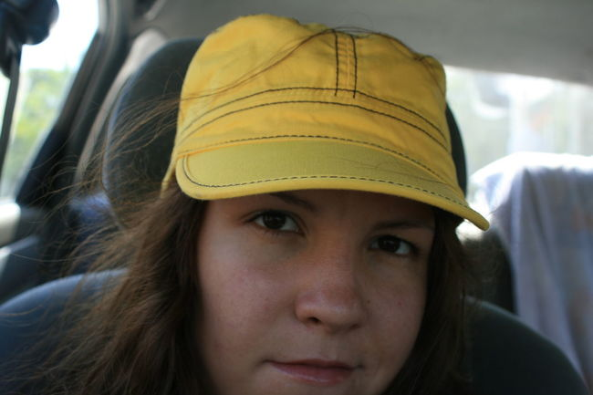 Brown Eyes Brown Hair Casual Clothing Close-up Headshot Human Face Looking At Camera Person Portrait Self Portrait Yellow Hat Young Adult Young Women Hat