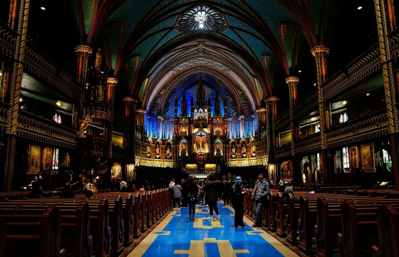Architecture Religion Place Of Worship History Indoors  Architectural Column Arch People Day Basilica Notre-Dame-de-la-Garde Montreal, Canada Beautiful View Interior Arquitecture Indoors  Built Structure Architecture Spirituality Illuminated