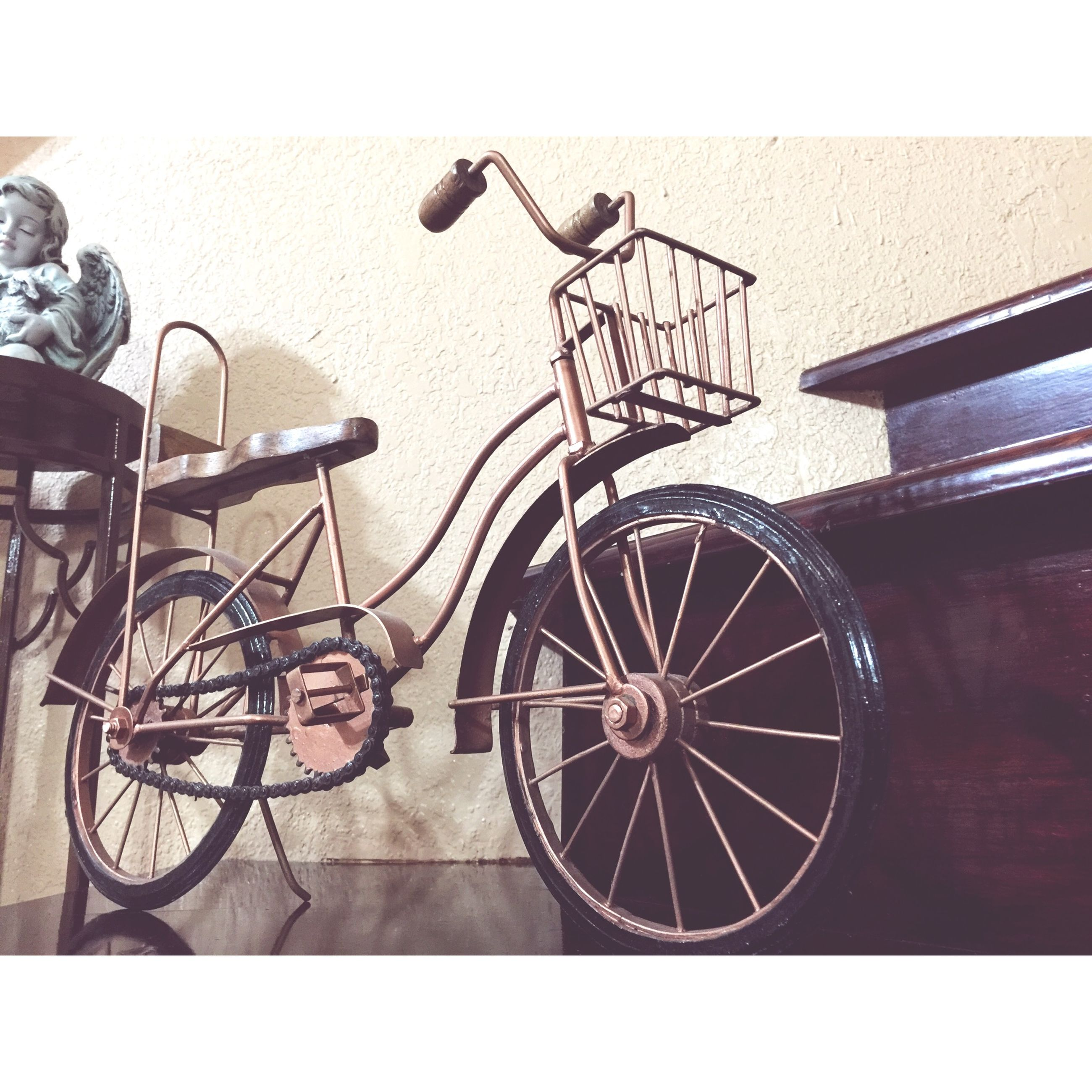 bicycle, transportation, mode of transport, land vehicle, stationary, parked, wheel, parking, wall - building feature, auto post production filter, transfer print, no people, built structure, wall, day, cycle, outdoors, architecture, old-fashioned, leaning