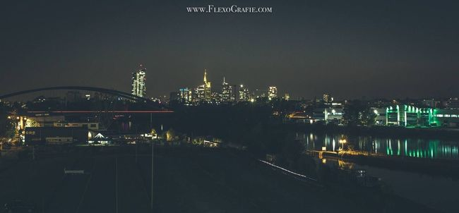 Highabovethecity Cityscape Skyline Skyline Frankfurt Nightphotography Long Exposure Longexposurephotography Bridge River View Water Water Reflections Illuminated Architecture Building Exterior Built Structure City Night Connection Canonphotography By  FlexoGrafie