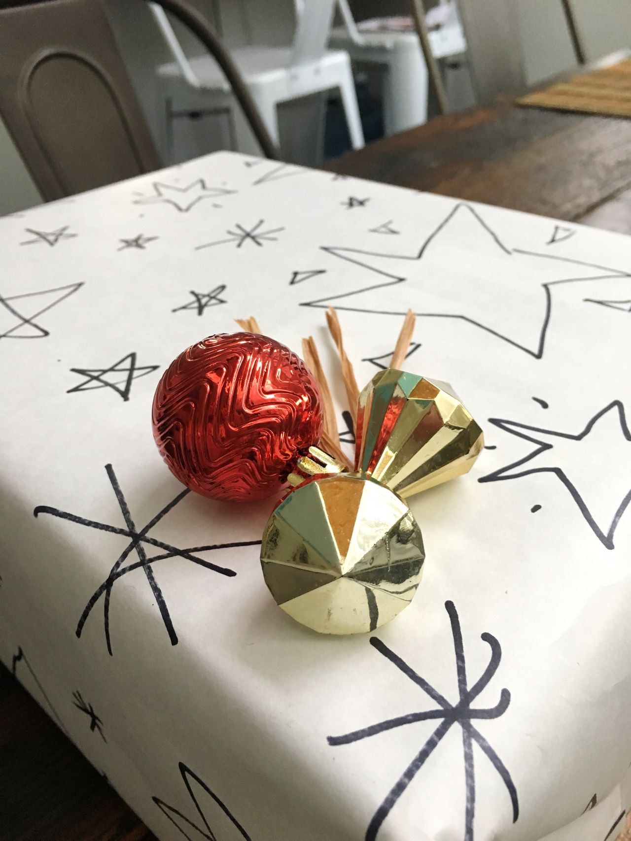Gift Wrapping Gift Wrapped Present Wrapped Gift Wrapping Paper Holiday Celebration Gift Indoors  Paper Table High Angle View No People Close-up Day