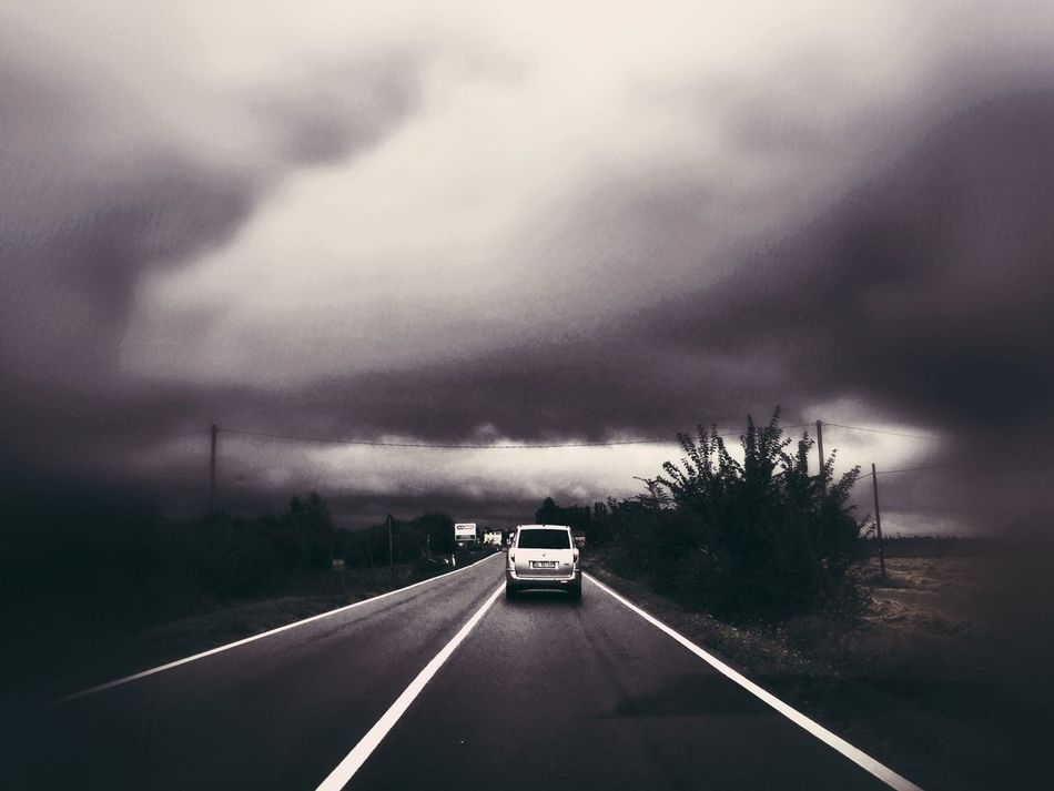 Perhaps the rain is coming. Rainyclouds Expecting Waiting For The Storm Road Cloud Cloudscape Car Solitude
