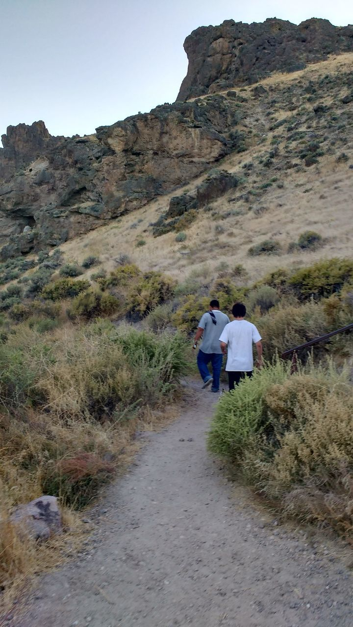 rear view, real people, leisure activity, lifestyles, nature, walking, togetherness, rock - object, men, two people, women, hiking, mountain, casual clothing, adventure, plant, grass, day, outdoors, scenics, beauty in nature, landscape, bonding, vacations, full length, sky, mammal, adult, people