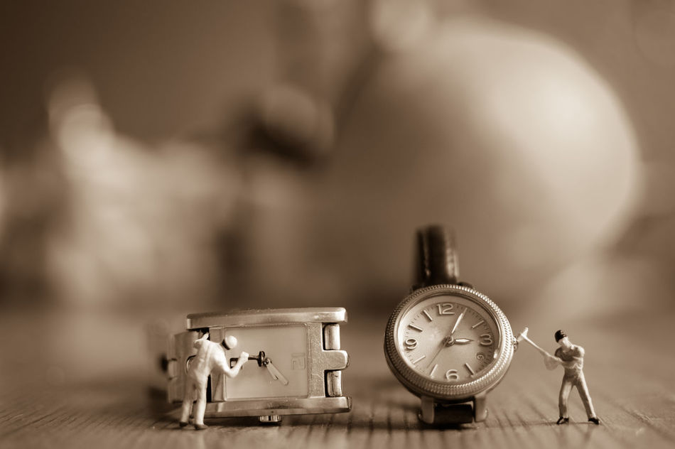 To all my European friends: don't forget the time change tonight ;-) Alarm Clock Antique Changing The Clocks Clock Clock Face Close-up Indoors  Miniature Minute Hand No People Old-fashioned Sepia_collection Table Time Time Change Time Shift Tiny People In The Big World