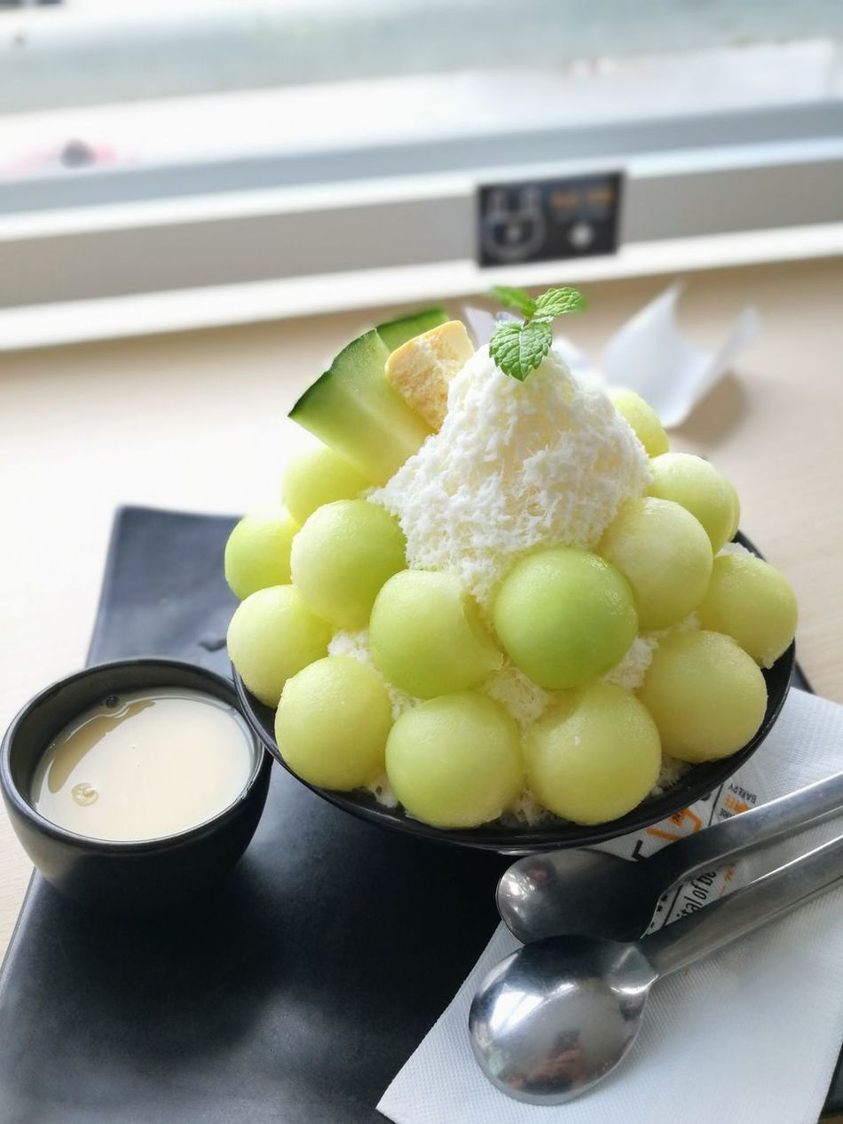 Sweet Melon Bingsu (Korean Ice Desert) Close-up Fruit Ice Indoors  Korean Desert Melon No People Sweet