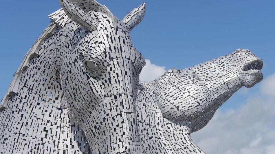 The Kelpies Kelpies  Kelpies Of Falkirk Sky Clear Sky Horses Sculpture Scotland Metal Art Public Art Uk The Kelpies