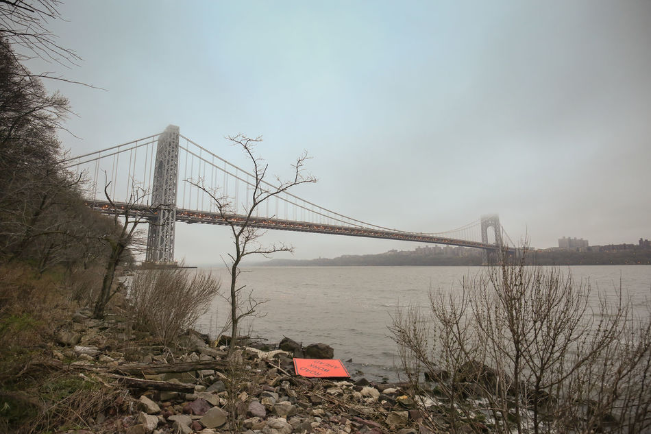 Architecture Beauty In Nature Bridge - Man Made Structure Built Structure Connection Day Fog George Washington Bridge Nature No People Outdoors Scenics Sky Suspension Bridge Tourism Travel Destinations Tree Water