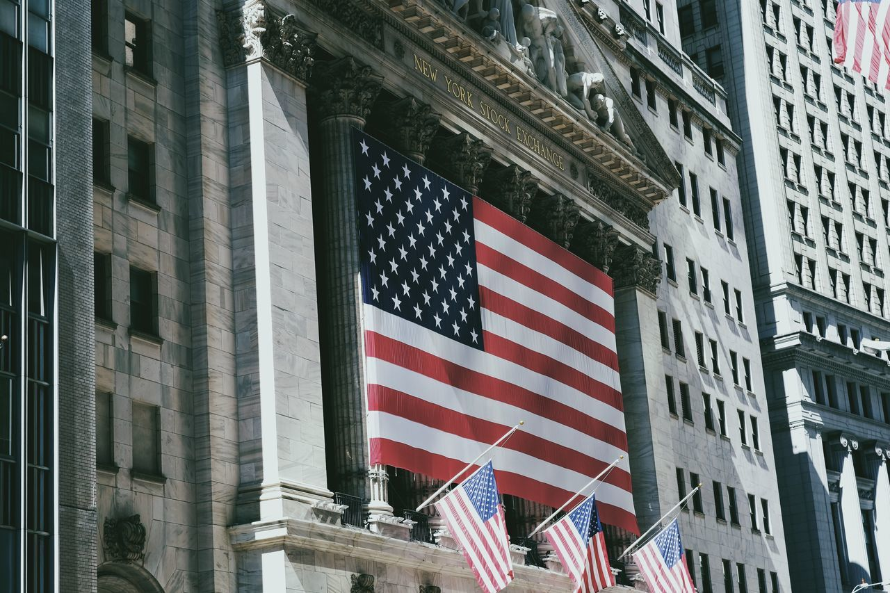 Beautiful stock photos of stock exchange, American Flag, Architecture, Building Exterior, Built Structure