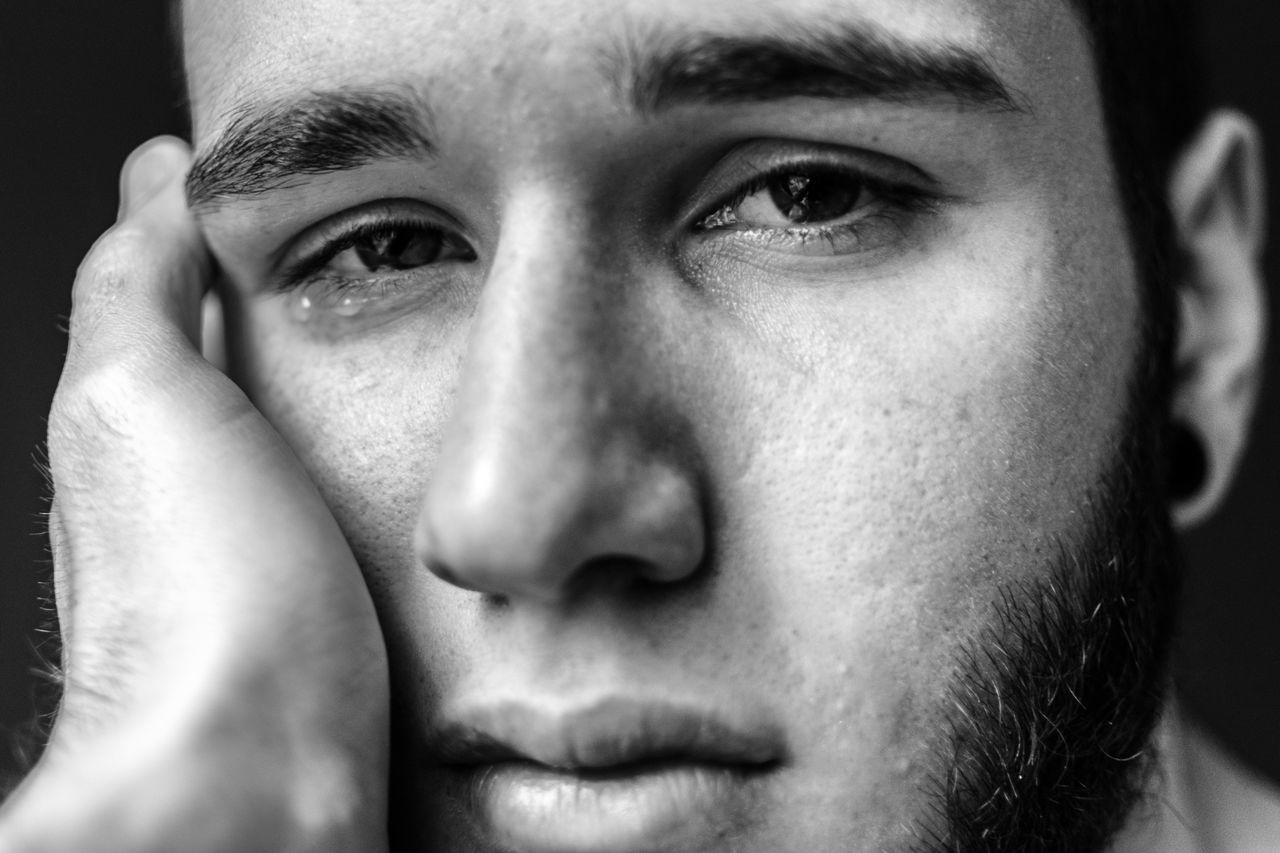 Adult Adults Only Close-up Crying Day Eyebrow Front View Hand Headshot Human Body Part Human Eye Human Face Indoors  Looking At Camera Men Mouth One Man Only One Person People Portrait Real People Sad Sadness Worried Young Adult