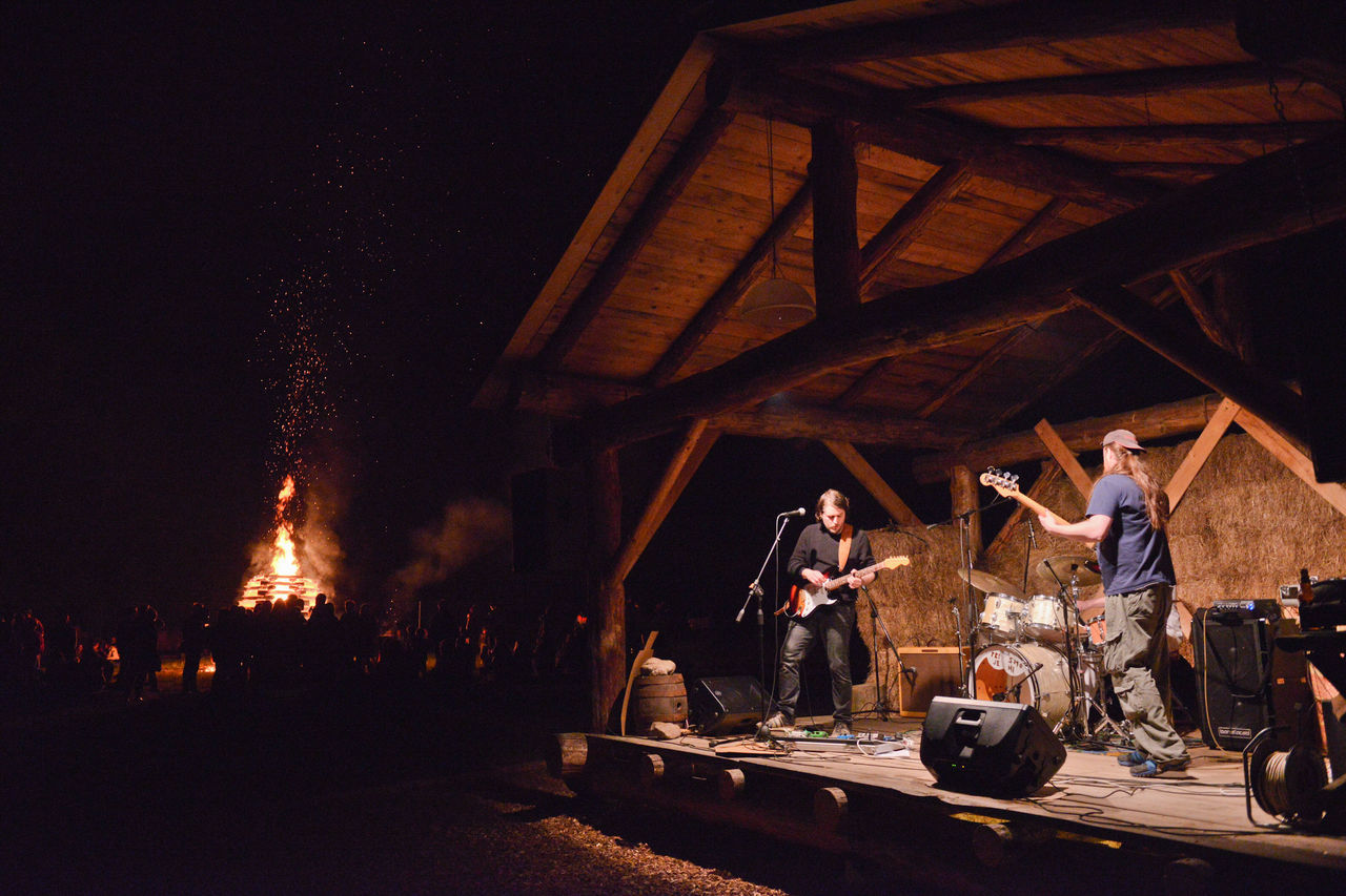 Band Bonfire Built Structure Campfire Casual Clothing City City Life City Street Festival Season Hot Summer Night Illuminated Leisure Activity Lifestyles Music Music Night Night Outdoors Sky Sparkling Sparks Sparks Fly People And Places My Favorite Place Summer Night Music Brings Us Together