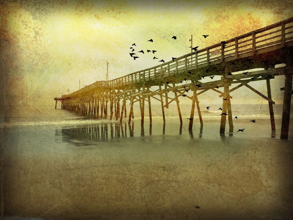Oak Island NC Pier Superimpose Snapseed DistressedFX IPhoneography