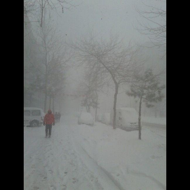İstanbul Beykent'te tipi şeklinde kar yağışında caddede yürüyüş... Editsiz Istanbul Beykent Istanbuldayasam kar buz tipi yağış yürüyüş
