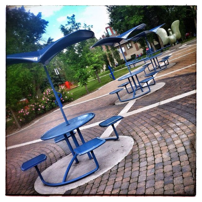 Park tables and statue. Photography IPhone Park Photo Of The Day